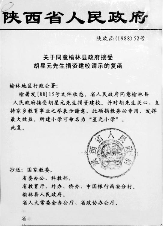 1990年 榆林籍爱国港商胡星元先生向榆林市政府捐资1000万元用于修建医院。.jpg